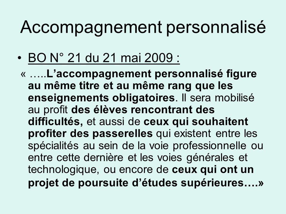 Accompagnement personnalisé •BO N° 21 du 21 mai 2009 : « …..L'accompagnement personnalisé figure au même titre et au même rang que les enseignements obligatoires.