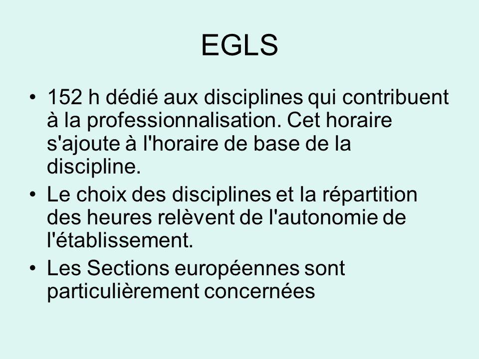 EGLS •152 h dédié aux disciplines qui contribuent à la professionnalisation.