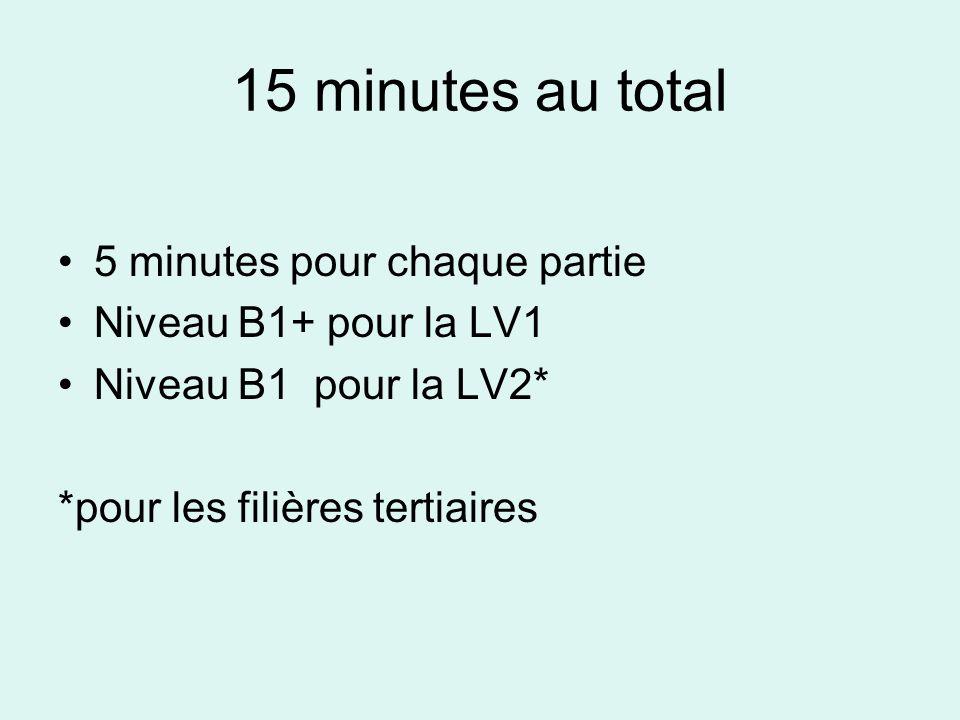 15 minutes au total •5•5 minutes pour chaque partie •N•Niveau B1+ pour la LV1 •N•Niveau B1 pour la LV2* *pour les filières tertiaires
