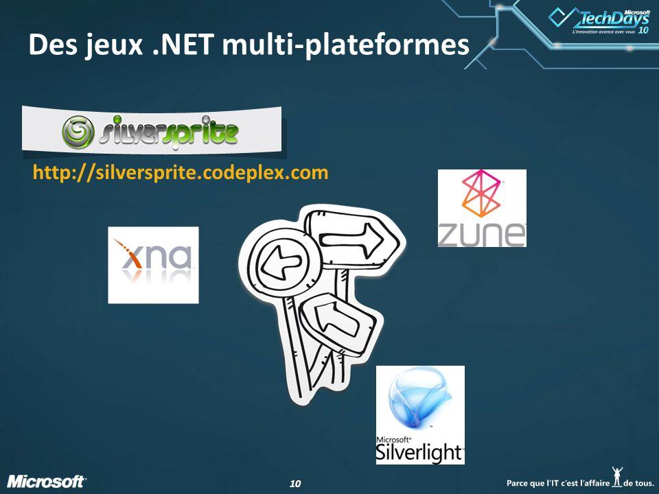 10 Des jeux.NET multi-plateformes http://silversprite.codeplex.com
