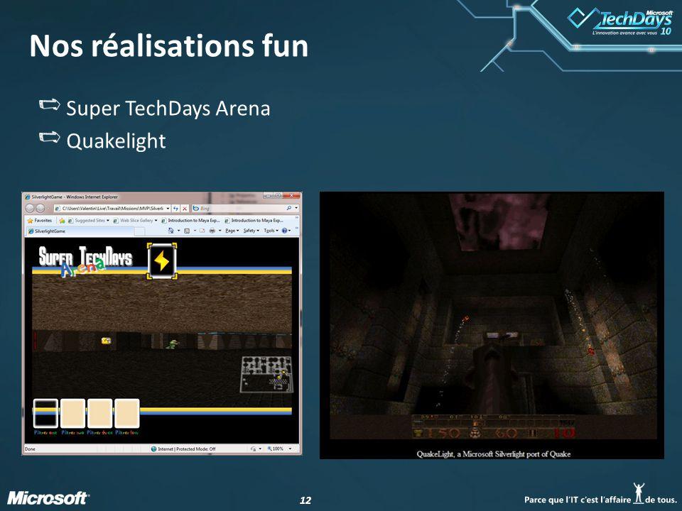 12 Nos réalisations fun Super TechDays Arena Quakelight