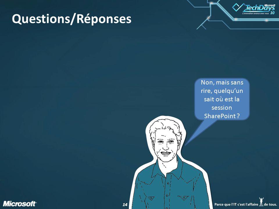 14 Questions/Réponses Non, mais sans rire, quelqu'un sait où est la session SharePoint ?