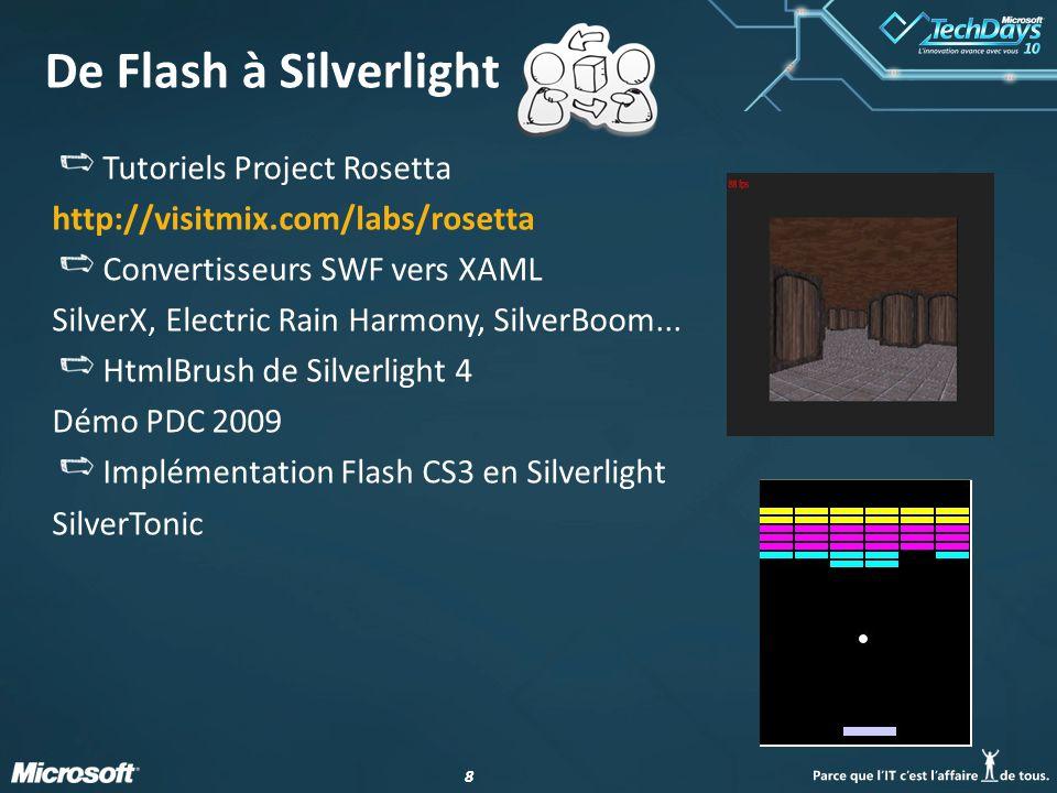 88 De Flash à Silverlight Tutoriels Project Rosetta http://visitmix.com/labs/rosetta Convertisseurs SWF vers XAML SilverX, Electric Rain Harmony, SilverBoom...