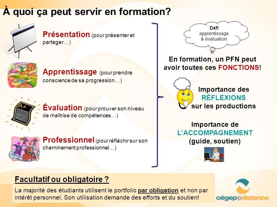 À quoi ça peut servir en formation? •Présentation (pour présenter et partager…) •Apprentissage (pour prendre conscience de sa progression…) •Évaluatio