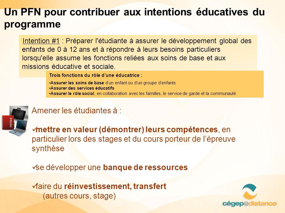 Intention #1 : Préparer l étudiante à assurer le développement global des enfants de 0 à 12 ans et à répondre à leurs besoins particuliers lorsqu elle assume les fonctions reliées aux soins de base et aux missions éducative et sociale.