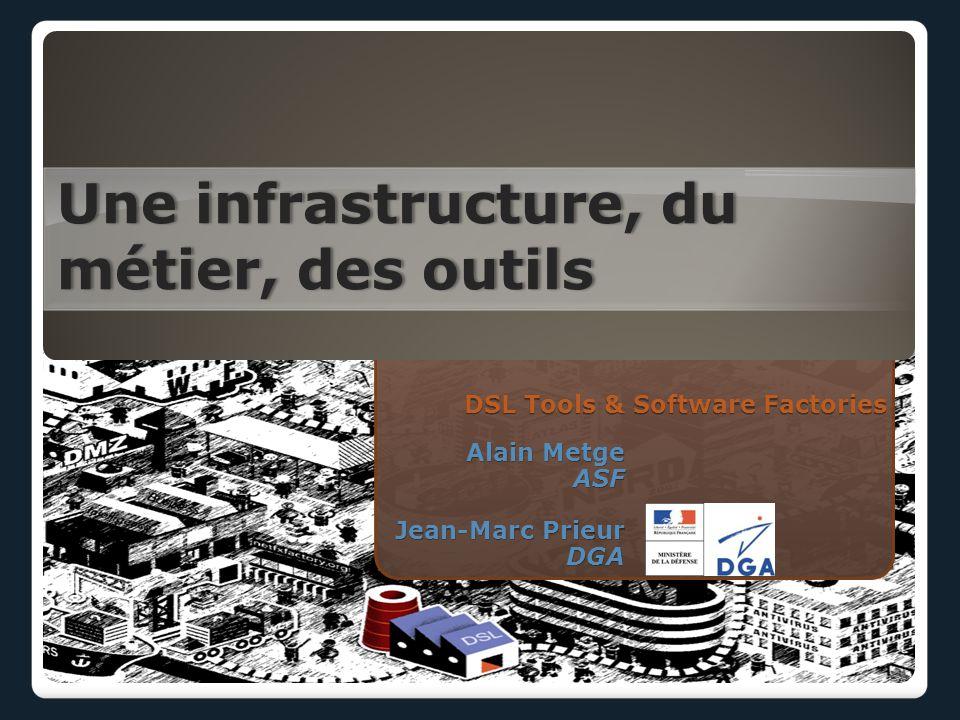DSL Tools & Software Factories Une infrastructure, du métier, des outils Alain Metge ASF Jean-Marc Prieur DGA