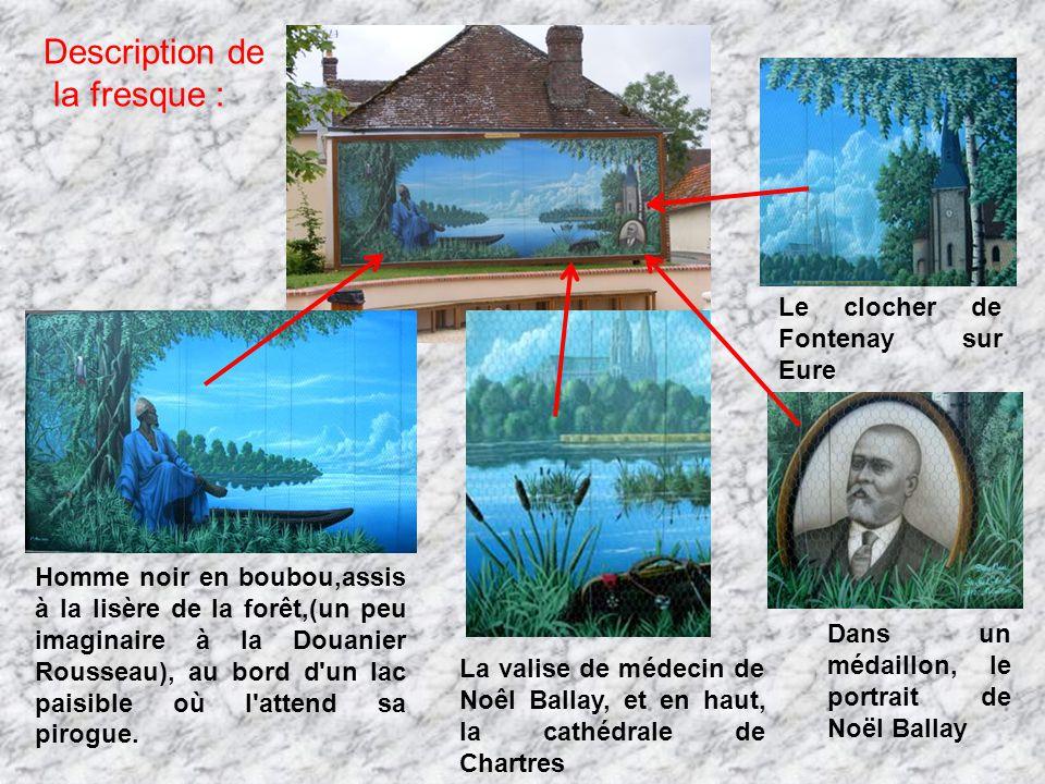 Description de la fresque : Homme noir en boubou,assis à la lisère de la forêt,(un peu imaginaire à la Douanier Rousseau), au bord d'un lac paisible o