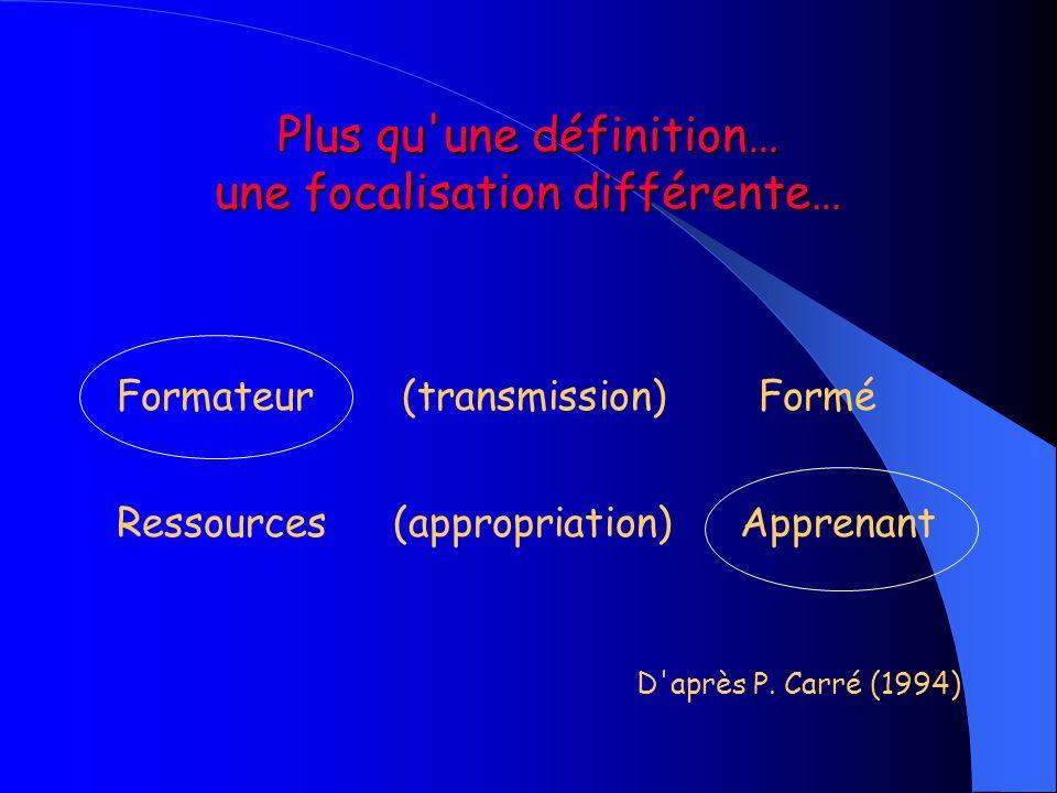 Plus qu'une définition… une focalisation différente… Formateur (transmission) Formé Ressources (appropriation) Apprenant D'après P. Carré (1994)