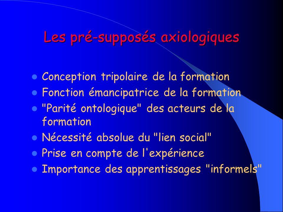 Les pré-supposés axiologiques  Conception tripolaire de la formation  Fonction émancipatrice de la formation 