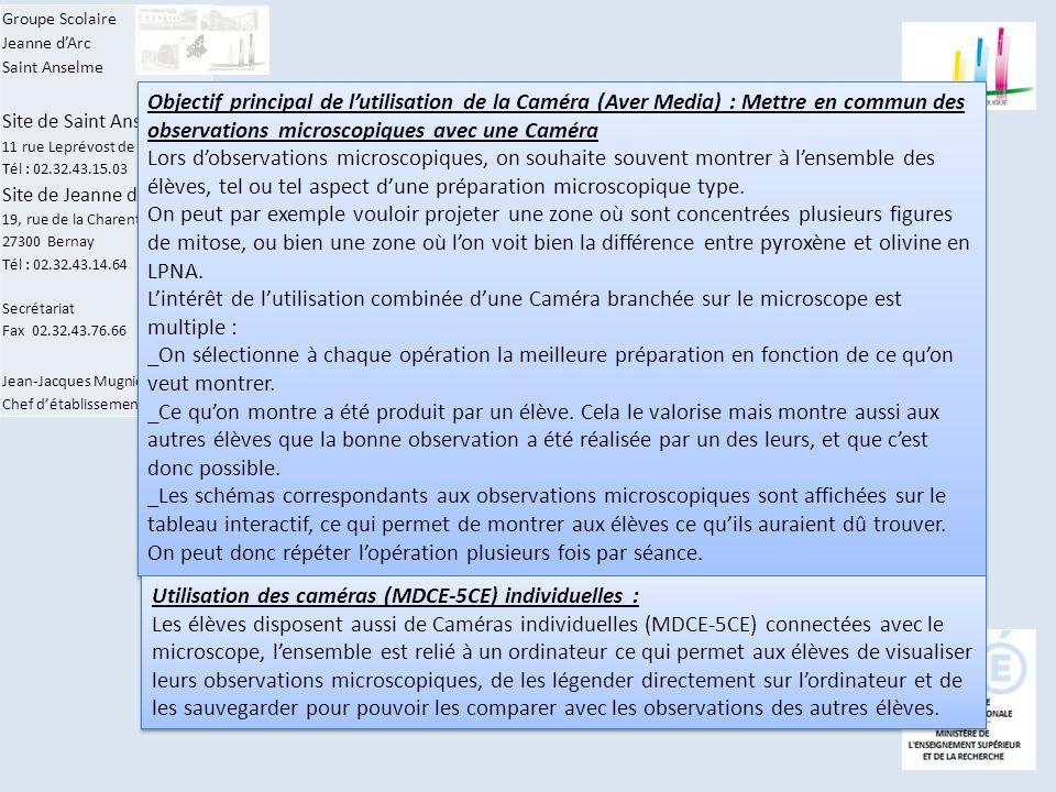 Groupe Scolaire Jeanne d'Arc Saint Anselme Site de Saint Anselme 11 rue Leprévost de Beaumont Tél : 02.32.43.15.03 Site de Jeanne d'Arc 19, rue de la Charentonne 27300 Bernay Tél : 02.32.43.14.64 Secrétariat Fax 02.32.43.76.66 Jean-Jacques Mugnier Chef d'établissement