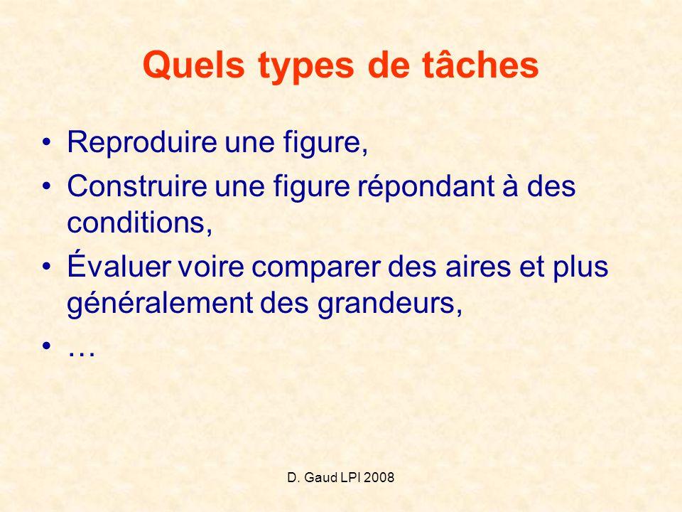 D. Gaud LPI 2008 Quels types de tâches •Reproduire une figure, •Construire une figure répondant à des conditions, •Évaluer voire comparer des aires et