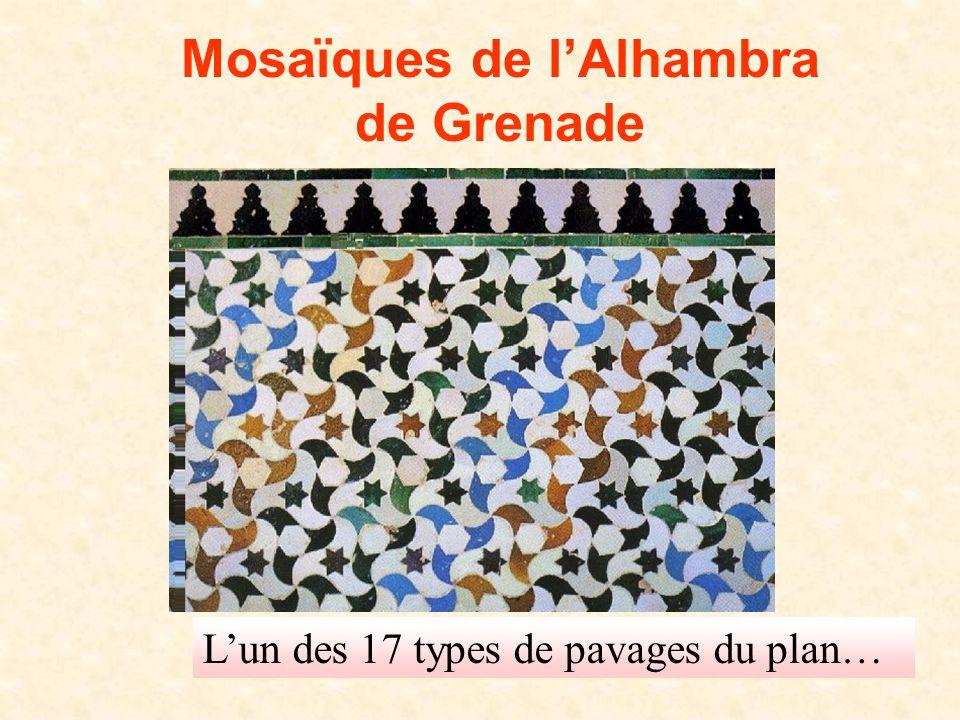 D. Gaud LPI 2008 Mosaïques de l'Alhambra de Grenade L'un des 17 types de pavages du plan…