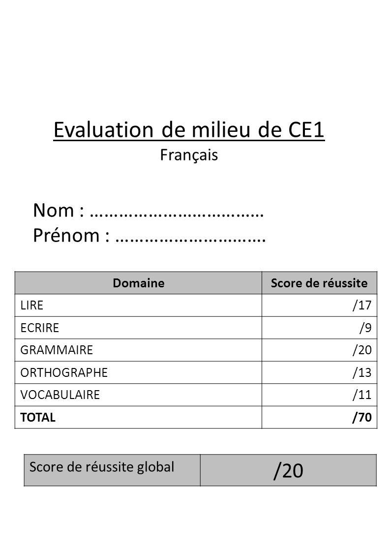 Evaluation de milieu de CE1 Français DomaineScore de réussite LIRE/17 ECRIRE/9 GRAMMAIRE/20 ORTHOGRAPHE/13 VOCABULAIRE/11 TOTAL/70 Score de réussite g