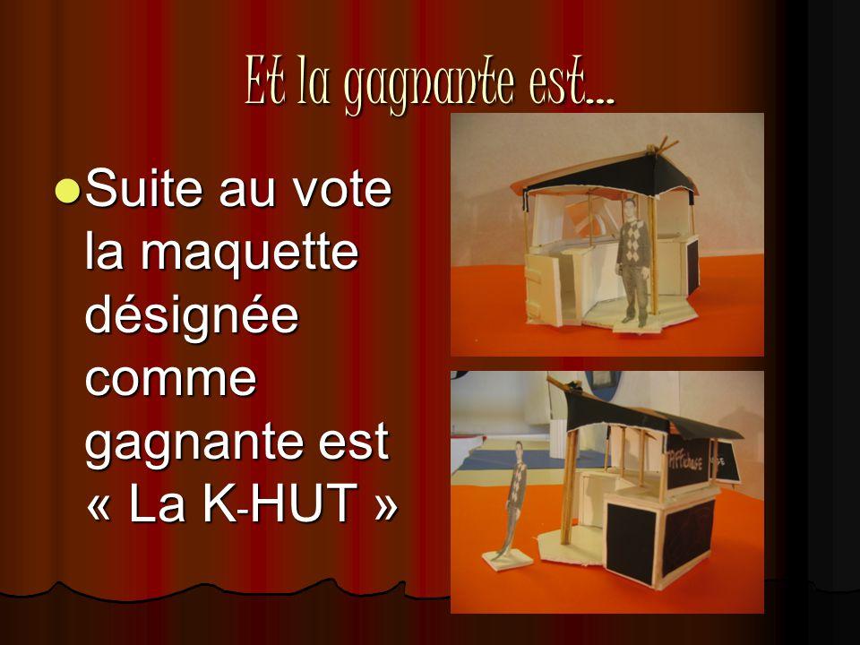Et la gagnante est…  Suite au vote la maquette désignée comme gagnante est « La K - HUT »