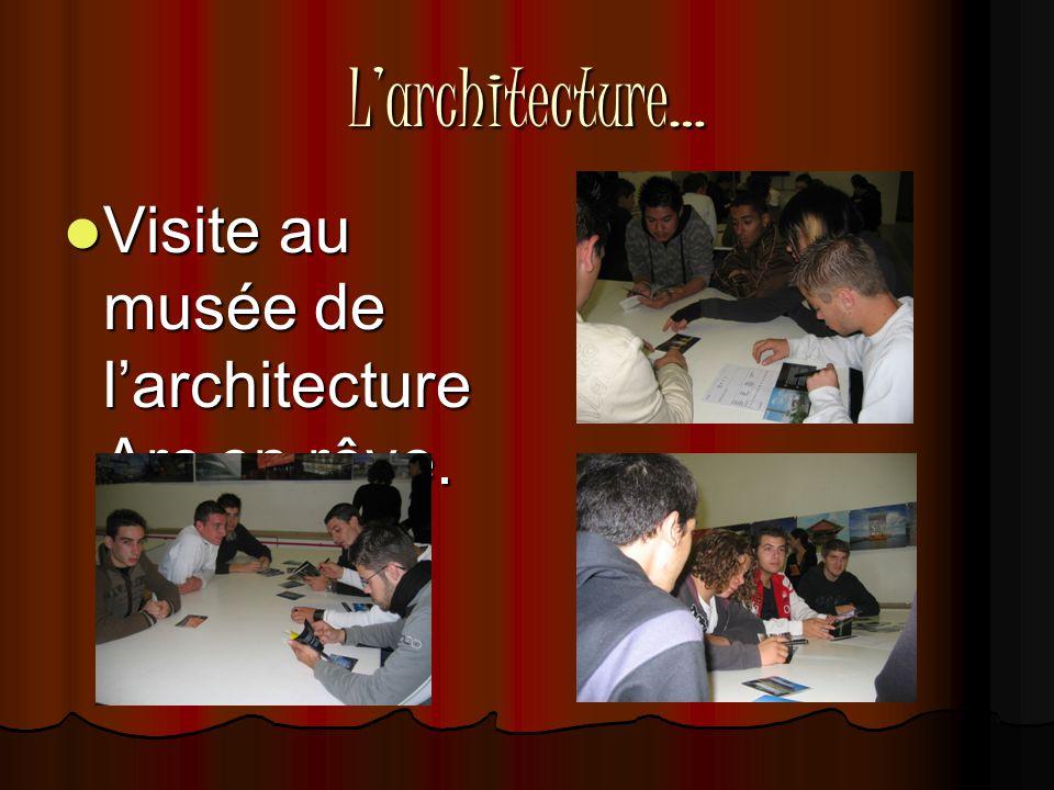 L'architecture…  Visite au musée de l'architecture Arc en rêve.