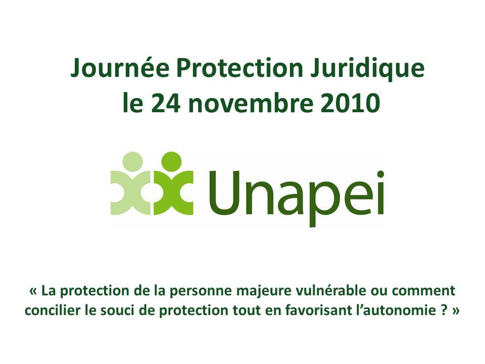 Journée Protection Juridique le 24 novembre 2010 « La protection de la personne majeure vulnérable ou comment concilier le souci de protection tout en