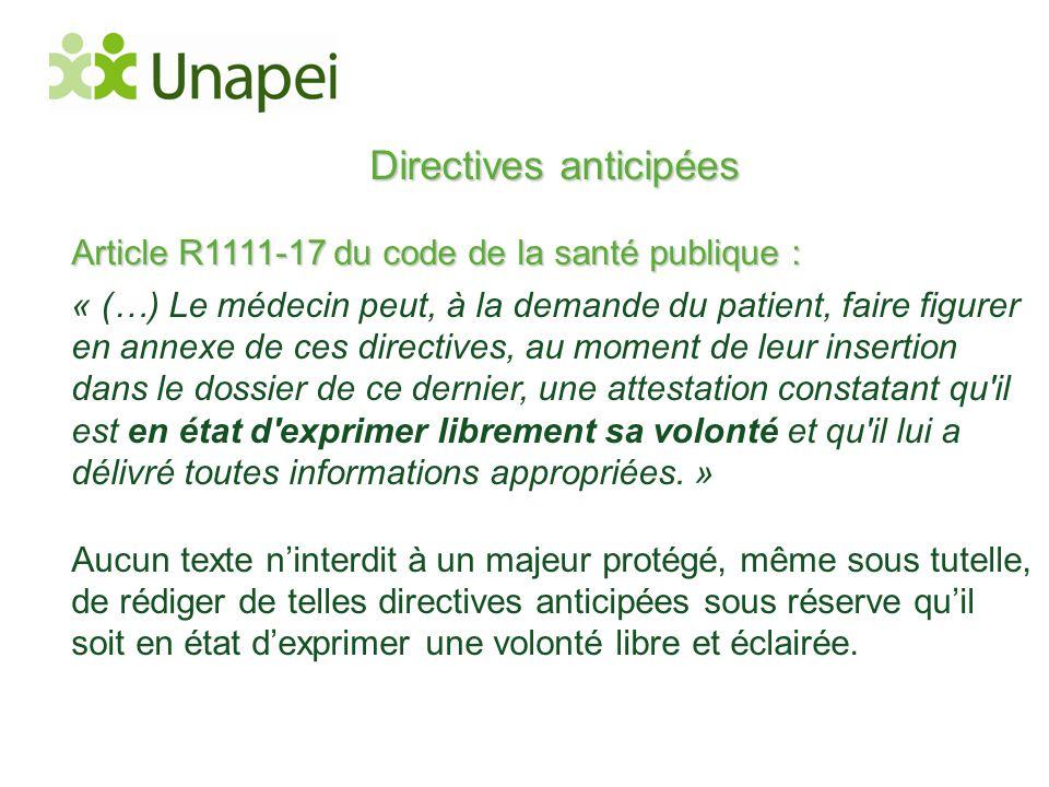 Directives anticipées Article R1111-17 du code de la santé publique : « (…) Le médecin peut, à la demande du patient, faire figurer en annexe de ces d