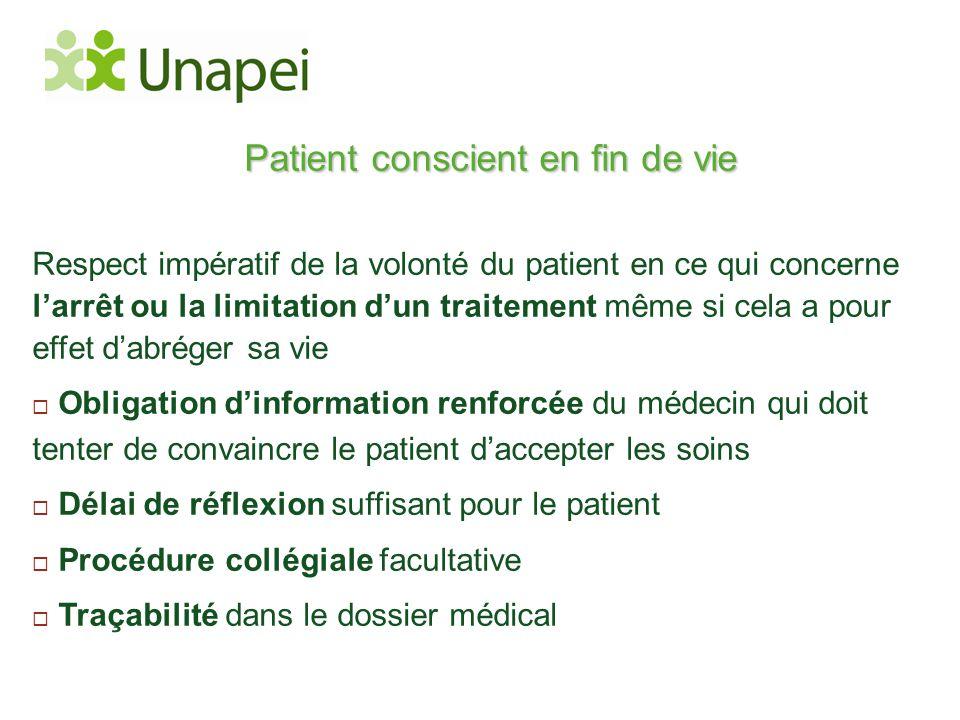 Patient conscient en fin de vie Respect impératif de la volonté du patient en ce qui concerne l'arrêt ou la limitation d'un traitement même si cela a