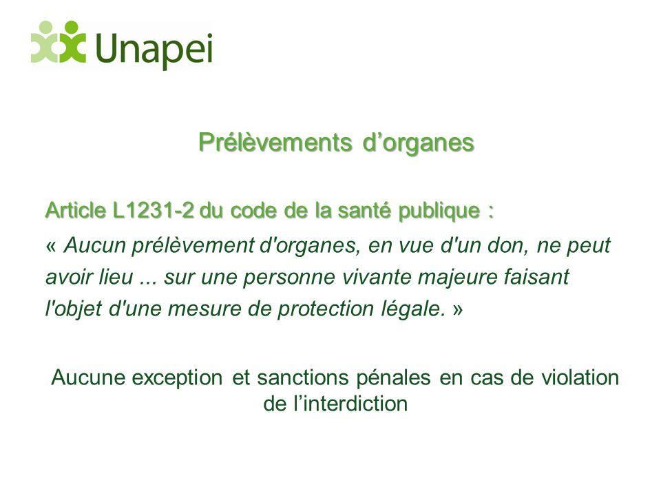 Prélèvements d'organes Article L1231-2 du code de la santé publique : « Aucun prélèvement d'organes, en vue d'un don, ne peut avoir lieu... sur une pe