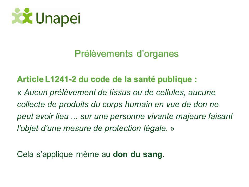 Prélèvements d'organes Article L1241-2 du code de la santé publique : « Aucun prélèvement de tissus ou de cellules, aucune collecte de produits du cor