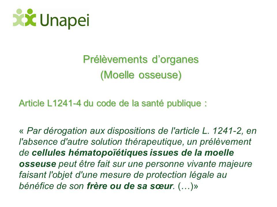 Prélèvements d'organes (Moelle osseuse) Article L1241-4 du code de la santé publique : « Par dérogation aux dispositions de l'article L. 1241-2, en l'