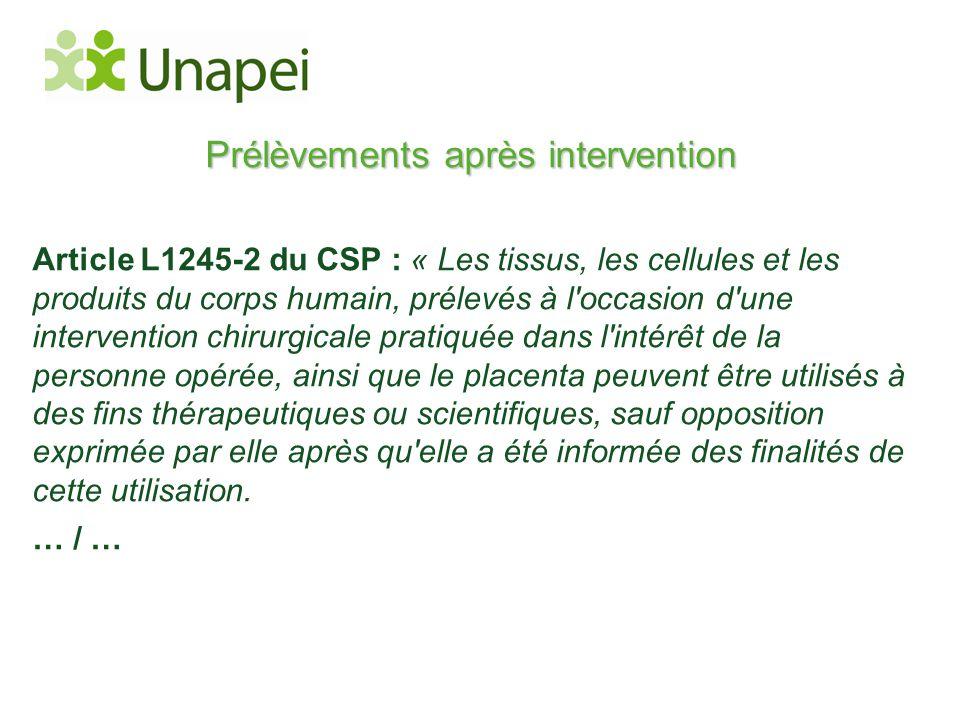 Prélèvements après intervention Article L1245-2 du CSP : « Les tissus, les cellules et les produits du corps humain, prélevés à l'occasion d'une inter