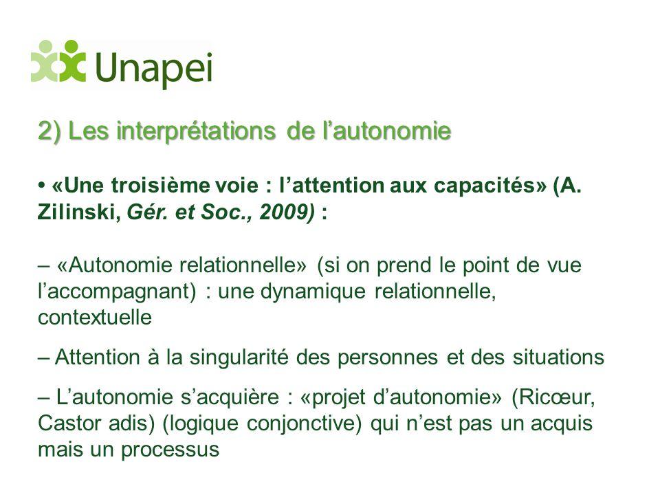 2) Les interprétations de l'autonomie • «Une troisième voie : l'attention aux capacités» (A. Zilinski, Gér. et Soc., 2009) : – «Autonomie relationnell