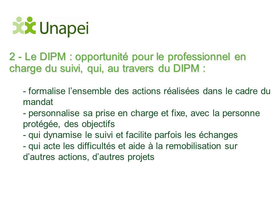2 - Le DIPM : opportunité pour le professionnel en charge du suivi, qui, au travers du DIPM : - formalise l'ensemble des actions réalisées dans le cad