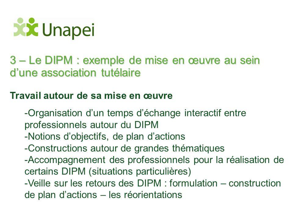 3 – Le DIPM : exemple de mise en œuvre au sein d'une association tutélaire Travail autour de sa mise en œuvre -Organisation d'un temps d'échange inter