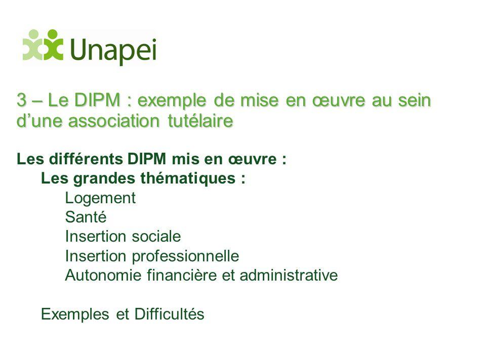 3 – Le DIPM : exemple de mise en œuvre au sein d'une association tutélaire Les différents DIPM mis en œuvre : Les grandes thématiques : Logement Santé