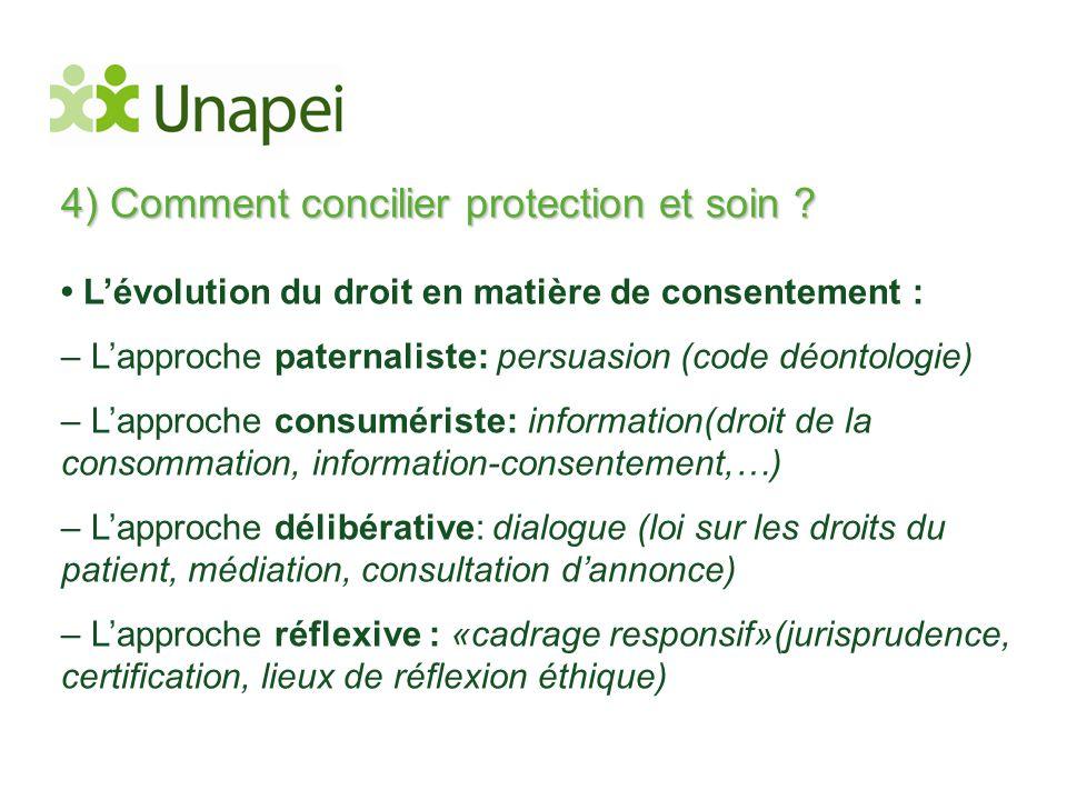 4) Comment concilier protection et soin ? • L'évolution du droit en matière de consentement : – L'approche paternaliste: persuasion (code déontologie)