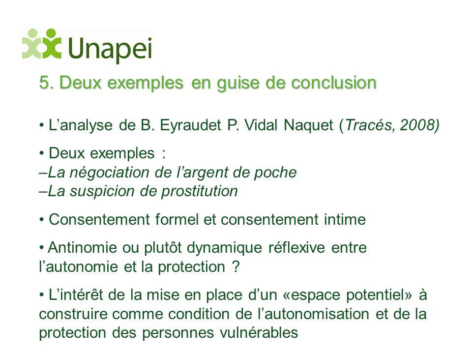5. Deux exemples en guise de conclusion • L'analyse de B. Eyraudet P. Vidal Naquet (Tracés, 2008) • Deux exemples : –La négociation de l'argent de poc