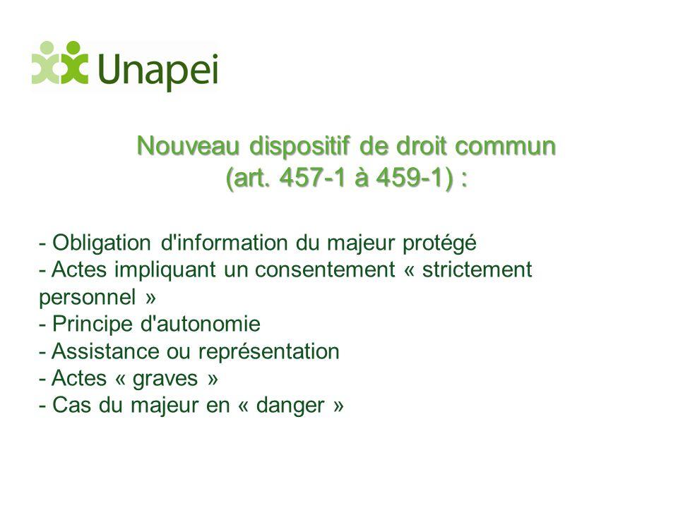 Nouveau dispositif de droit commun (art. 457-1 à 459-1) : - Obligation d'information du majeur protégé - Actes impliquant un consentement « strictemen