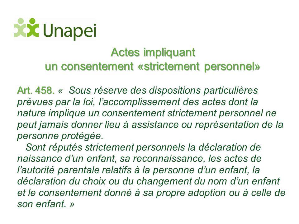 Actes impliquant un consentement «strictement personnel» Art. 458. Art. 458. « Sous réserve des dispositions particulières prévues par la loi, l'accom