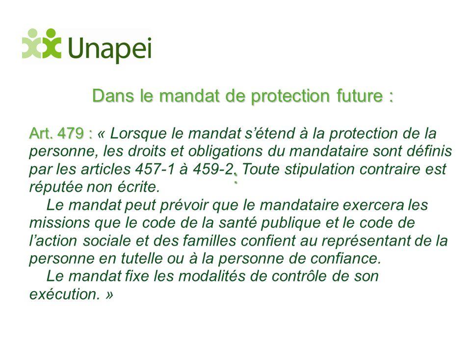 Dans le mandat de protection future : Art. 479 : Art. 479 : « Lorsque le mandat s'étend à la protection de la personne, les droits et obligations du m