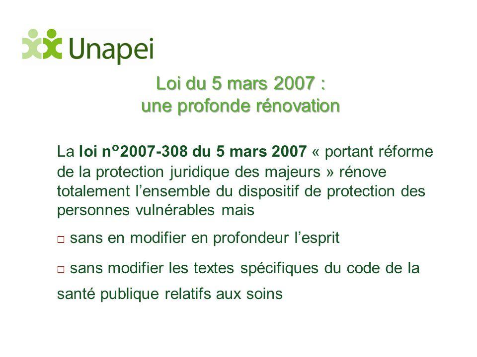 Loi du 5 mars 2007 : une profonde rénovation La loi n°2007-308 du 5 mars 2007 « portant réforme de la protection juridique des majeurs » rénove totale