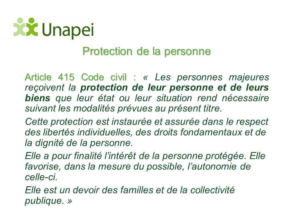 Protection de la personne Article 415 Code civil : Article 415 Code civil : « Les personnes majeures reçoivent la protection de leur personne et de le