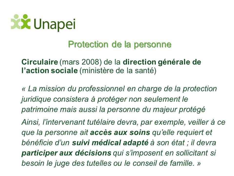 Protection de la personne Circulaire (mars 2008) de la direction générale de l'action sociale (ministère de la santé) « La mission du professionnel en