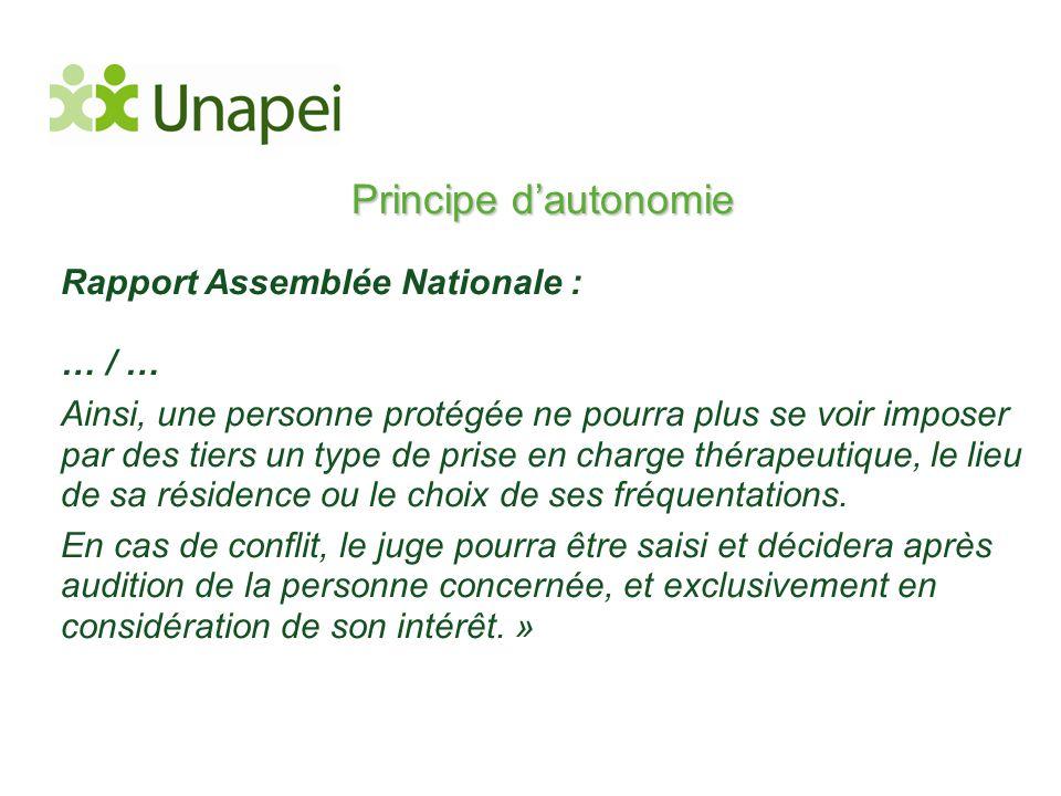 Principe d'autonomie Rapport Assemblée Nationale : … / … Ainsi, une personne protégée ne pourra plus se voir imposer par des tiers un type de prise en