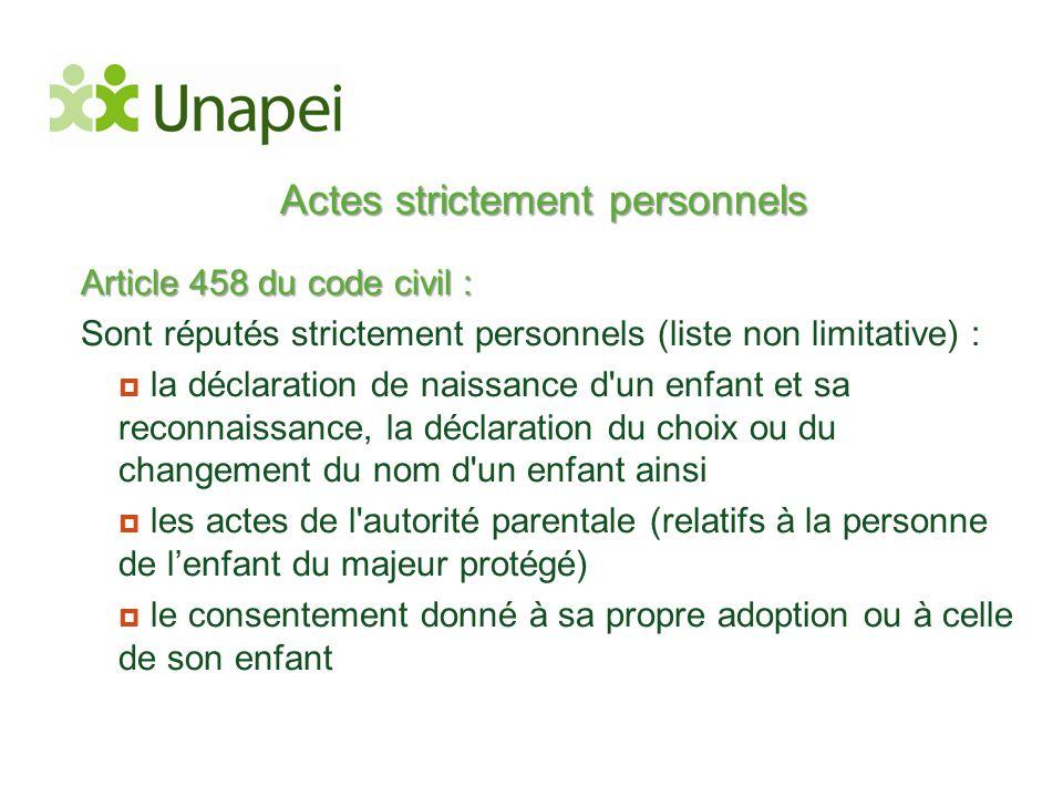 Actes strictement personnels Article 458 du code civil : Sont réputés strictement personnels (liste non limitative) :  la déclaration de naissance d'