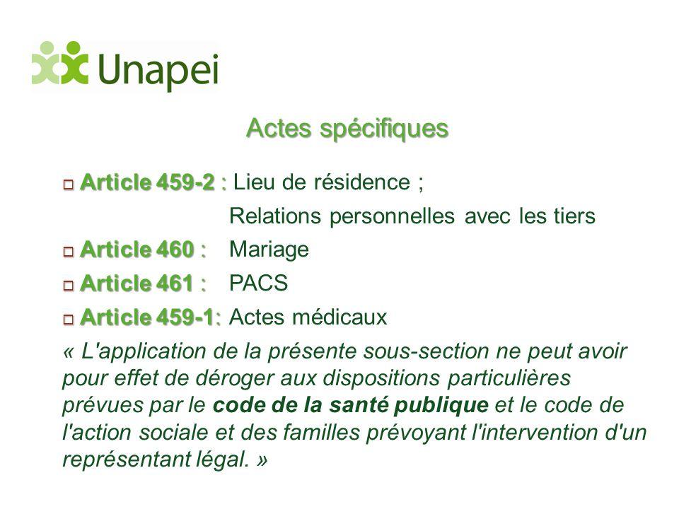 Actes spécifiques  Article 459-2 :  Article 459-2 : Lieu de résidence ; Relations personnelles avec les tiers  Article 460 :  Article 460 : Mariag