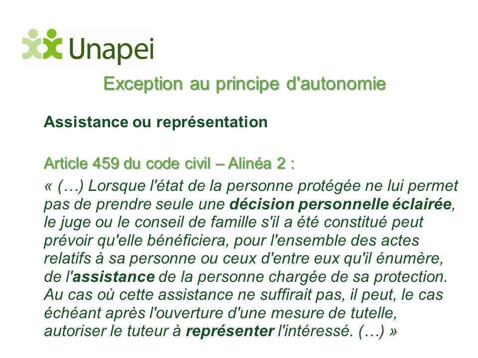 Exception au principe d'autonomie Assistance ou représentation Article 459 du code civil – Alinéa 2 : « (…) Lorsque l'état de la personne protégée ne