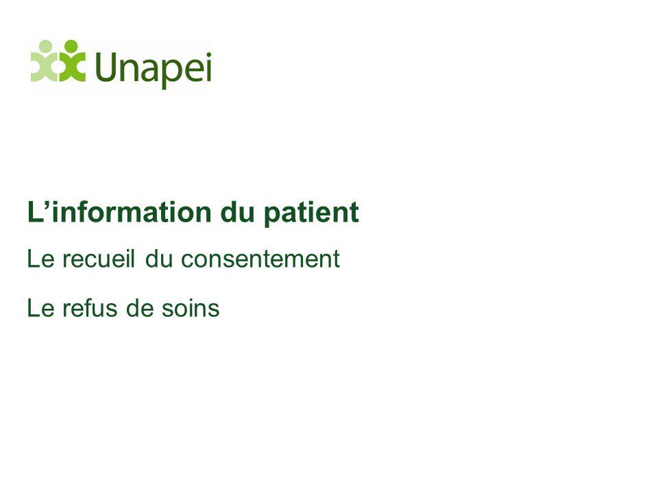 L'information du patient Le recueil du consentement Le refus de soins
