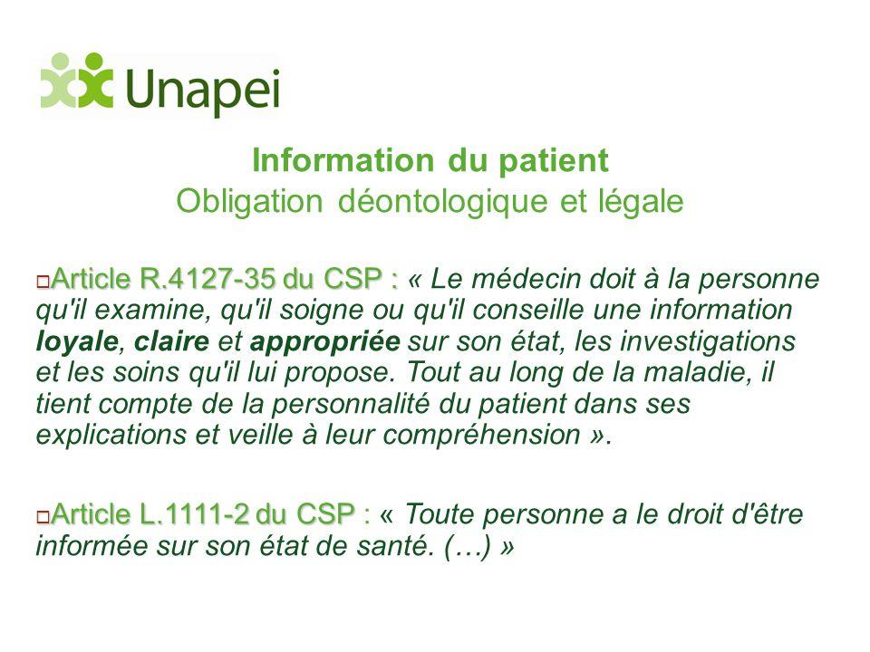 Information du patient Obligation déontologique et légale  Article R.4127-35 du CSP :  Article R.4127-35 du CSP : « Le médecin doit à la personne qu