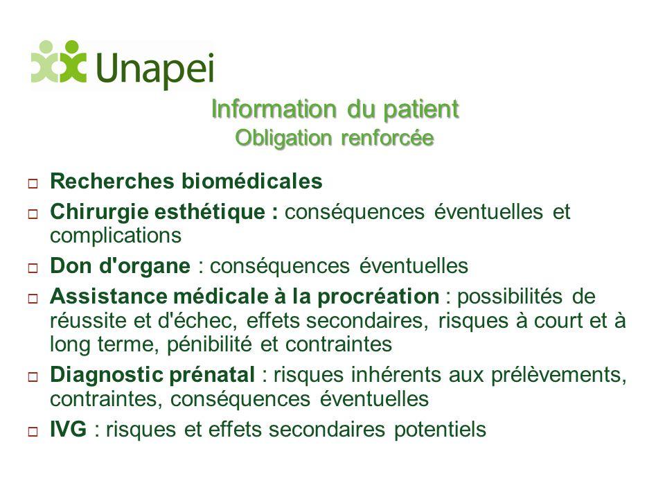 Information du patient Obligation renforcée  Recherches biomédicales  Chirurgie esthétique : conséquences éventuelles et complications  Don d'organ