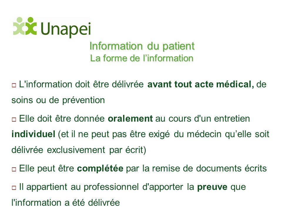 Information du patient La forme de l'information  L'information doit être délivrée avant tout acte médical, de soins ou de prévention  Elle doit êtr