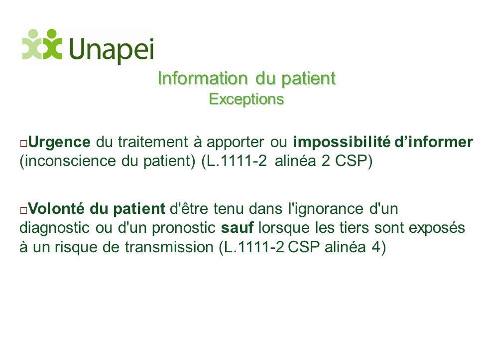 Information du patient Exceptions  Urgence du traitement à apporter ou impossibilité d'informer (inconscience du patient) (L.1111-2 alinéa 2 CSP)  V