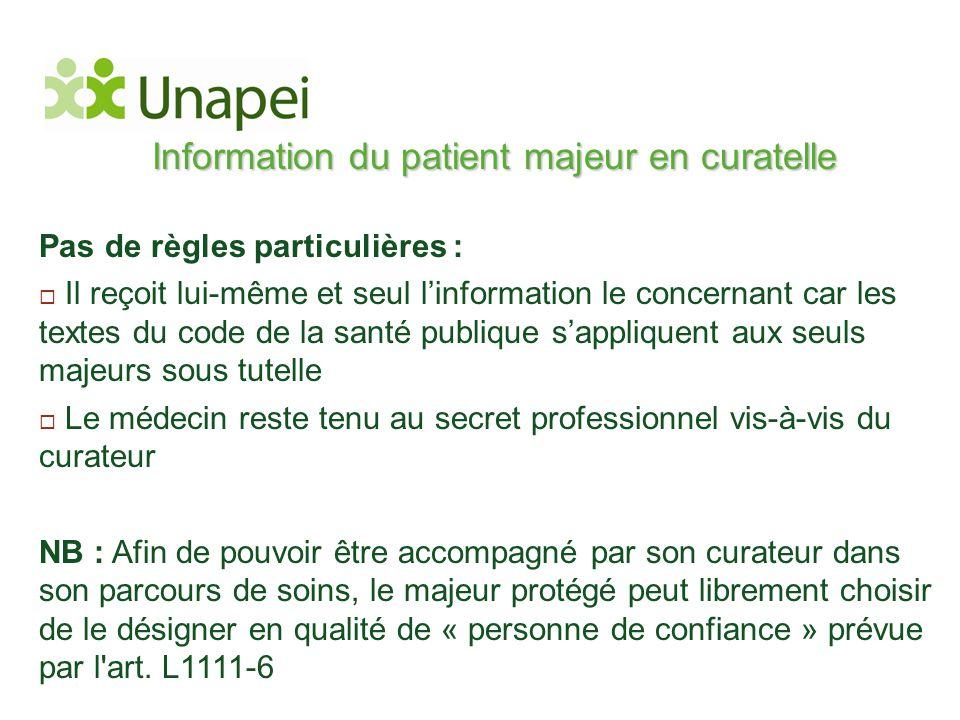 Information du patient majeur en curatelle Pas de règles particulières :  Il reçoit lui-même et seul l'information le concernant car les textes du co