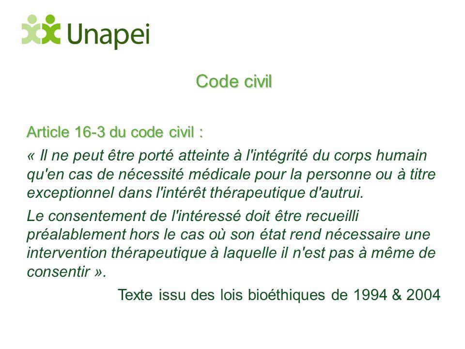 Code civil Article 16-3 du code civil : « Il ne peut être porté atteinte à l'intégrité du corps humain qu'en cas de nécessité médicale pour la personn