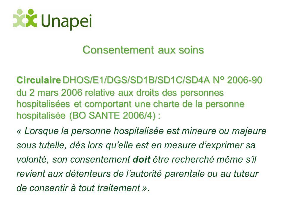 Consentement aux soins Circulaire DHOS/E1/DGS/SD1B/SD1C/SD4A N° 2006-90 du 2 mars 2006 relative aux droits des personnes hospitalisées et comportant u